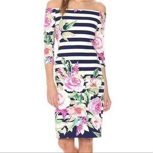 Eliza J Navy Blue Floral Dress